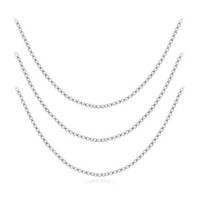 "Sterling Silver 16"", 20"" and 30"" Box Chain Necklace, Set of Three 