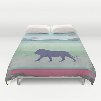 Lions are big kitties  Duvet Cover by Xiari