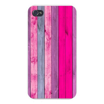 Apple Iphone Custom Case 4 4s Snap on - Artistic Painted Wood Pink Vertical Boards