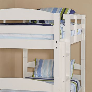 White Wood Twin over Twin Bunk Bed with Ladder