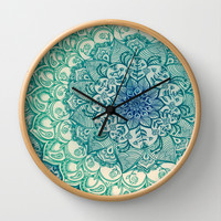 Emerald Doodle Wall Clock by micklyn | Society6