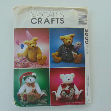 McCall's Craft 3039 Theme Bears Stuffed Dolls Sewing Pattern UNCUT