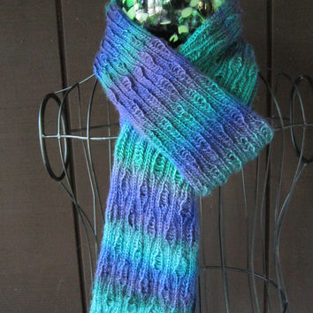 Hand Knitted Very Long Scarf, Soft Knit Scarf With a Wavy Pattern and Beautiful colors