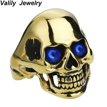 EdgLifU Men's Skull Ring Blue/Red Eyes Punk Biker Gothic Rings Jewelry Stainless Steel personalized machismo Design Rings
