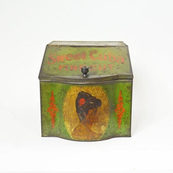 Vintage Tobacco Can, Tobacco Tin, Vintage Cigar Tin Box, Old Tin, Antique Tin Box, Cigar Tin, Vintage Can, Tobacco Tin, Advertising Tin