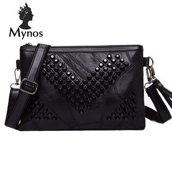 MYNOS Diamond Genuine Leather Women Messenger Bag Zipper Small Crossbody Bag Women Vintage Clutch Bag Ladies Purse For Women