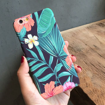 Vintage Green Fresh Leaves Cute Case for iPhone