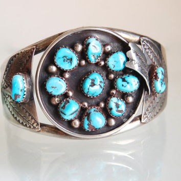 Navajo Turquoise Cuff Bracelet Vintage Old Pawn Tribal Jewelry M Bahe Modernist Southwestern Silver Stamped Feathers & Traditional Motifs