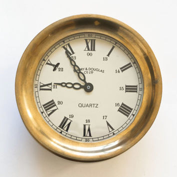 Vintage Emory & Douglas Co. Brass Ships Clock, Large Heavy Nautical Clock Quartz Movement, Working Condition