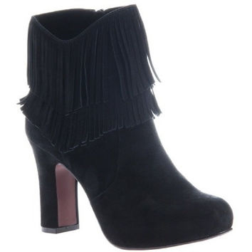 Poetic License: Boho Fantasy  Fringe Ankle Boot , in black