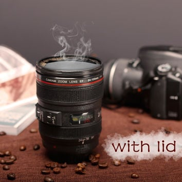 SLR Camera Lens 24-105mm 1:1 Scale Plastic Coffee Tea MUG 400ML Creative Cups And Mugs With Lid M102
