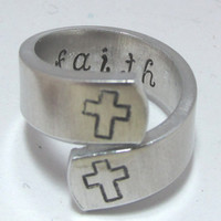 Crosses With Faith On Inside Hand Stamp Pinky Ring  8