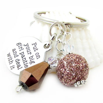 Funny Keychain, Beaded Keychain, Quote Keychain, Deal With it Keychain, Brown Bling Keyring