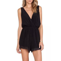 Black Sleeveless Back-to-Back V-Cut with Crochet Lace Accent Romper