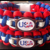 U.S.A. SS CHARM ONE PARACORD SURVIVAL BAND