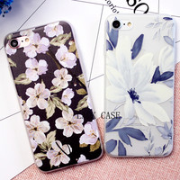 Best quality Ultra thin Cartoon Floral Plants Pattern Phone Case For iphone 7 Case For iphne7 6 6S Plus Leaves Flower Back Cover