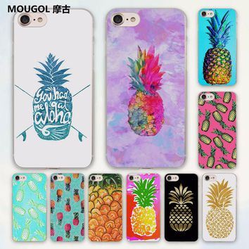 MOUGOL Colorful Fruit Pineapple create texture design hard clear Case Cover for Apple iPhone 7 6 6s Plus SE 4s 5 5s 5c Phone Cas