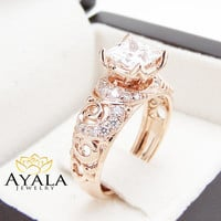 Moissanite Engagement Ring  14K Rose Gold Princess Cut Diamond Ring Princess Cut Engagment Ring