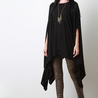 Handkerchief Knit Poncho Maxi Top