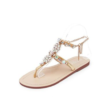 Rhinestones Chains Shoes Gladiator Flat Sandals Open Toe