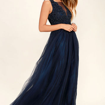 Could Have Danced All Night Navy Blue Maxi Dress
