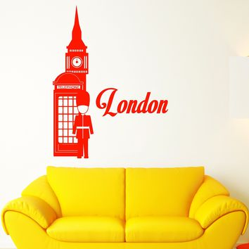 Vinyl Wall Decal London England Tourism Travel Red Telephone Box Stickers (2835ig)