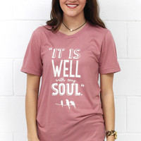 It Is Well Short Sleeve Tee {Rose Mauve}