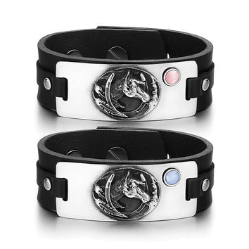 Brave Mustang Lucky Horse Shoe Love Couples Pink Sky Blue Simulated Cats Eye Black Leather Tag Bracelets