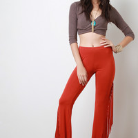 Jersey Knit Side Fringe Flared Bottom Pants