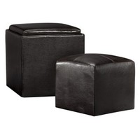 Sheridan Leather 3 Piece Storage Ottoman with Tray - Espresso