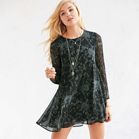 Casual Mesh Floral Print Long Sleeve Mini Dress