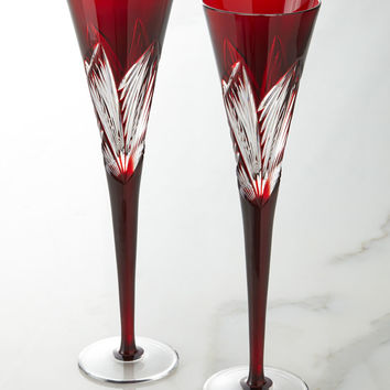 Two Times Square Ruby Flutes - Waterford Crystal