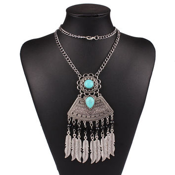 gypsy and boho style nepal silver leaf pendant native indian necklace