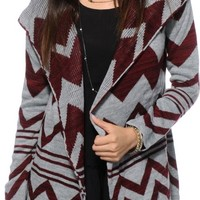 Trillium Grey & Burgundy Chevron Hooded Sweater