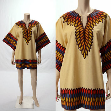 Vintage 70s 80s Feather Print Hippie Dashiki Top 1970s 1980s Boho Caftan Angel Kimono Sleeve Gypsy Indian Bohemian Tribal Tunic Dress Shirt