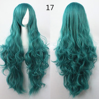 COS Wig Hair Extension woman wigs Hatsune Miku Cosplay Wig long hair wig wigs synthetic hair cap multicolor hair curly wig hair S2312-17