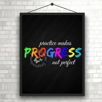 Practise makes progress | Motivation | Teacher | Chalkboard | Elementary school | Quote | Art Print | Typography | Classroom | Printable