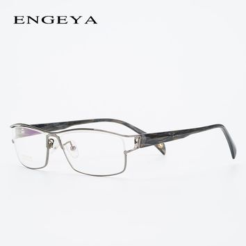 Clear Metal Eyewear Frames Men Business Fashion Minus Myopia Prescription Eye Glasses Sight Hallow Design #6108
