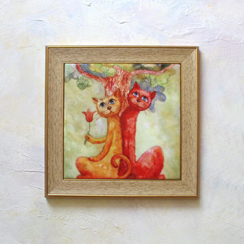 Hand Painted Ceramic Tile Wall Art -- Happy Cats Couple Under the Tree - 15 cm x 15 cm - paintings original - animal - Red Cat & Orange Cat