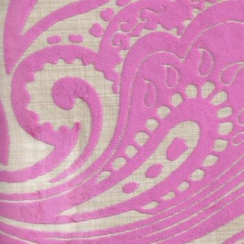 Hot Pink Velvet Damask Designer Fabric by the Yard | 100% Cotton