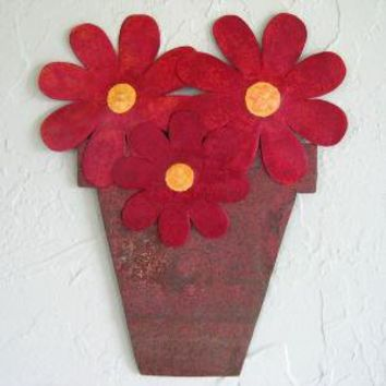Cheerful Flower Pot Metal Wall Sculpture by frivoloustendencies