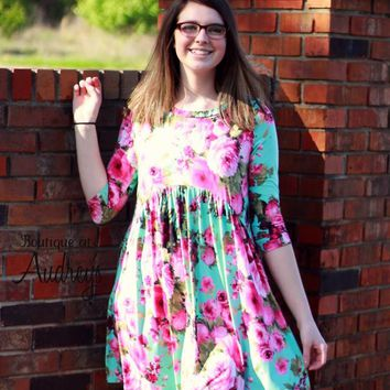 Mint Babydoll Dress with Bright Fuchsia Floral Print