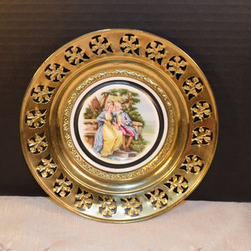 Regency Bone China and Brass Wall Plate England Vintage Love Story Courting Couple Brass Framed Plate English Tavern Pub Decor