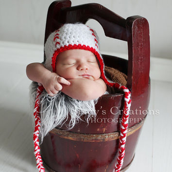 Baseball Baby Hat Crochet Baby Hat Sports Hat by Monarchdancer