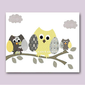 "Art for Children , Kids Wall Art, Baby Boy Room Decor, Nursery print 8"" x 10"" Print,birds,tree,owlls,yellow,gray,decoration,collage,artwork"