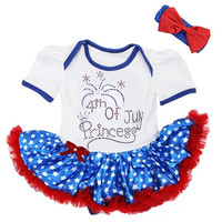 Infant Girls Baby Rhinestone Onesuit Tutu 4th of July SET
