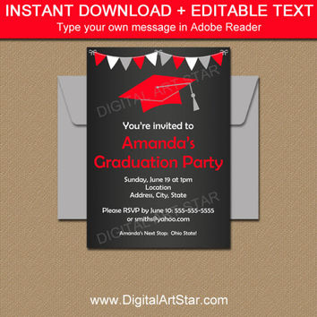 High School Graduation Invitation Template, Chalkboard Graduation Announcement, Senior Graduation Card PRINTABLE College Graduation Decor G7