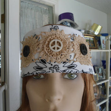 Black and White Upcycled Redesigned Hippie Boho Gypsy Bandana Head Wrap Headband with Tea Stained Lace Peace signs
