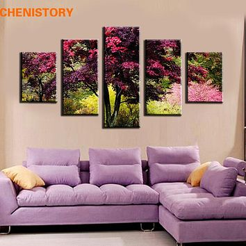 Unframed 5 Pieces Red Tree Flower HD Print Canvas Painting Modern Room Decoration For Wall Art Picture Artwork