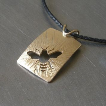 Reversible Sunny Brass Bee Pendant By Beth Millner by BethMillner